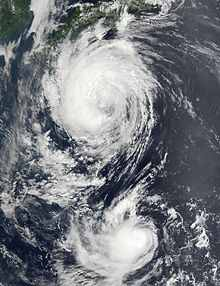 Typhoons Fengshen (north) and Fung-Wong